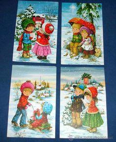 cuatro postales navideas de mary may dobles tamao x postales