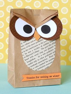 "owl gift wrapping ""Thanks for making me wiser"" great for end of year teacher gift"