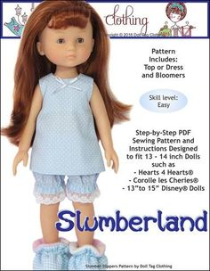 Doll Tag Clothing Slumberland 13-16 Inch Doll Clothes Pattern | Pixie Faire