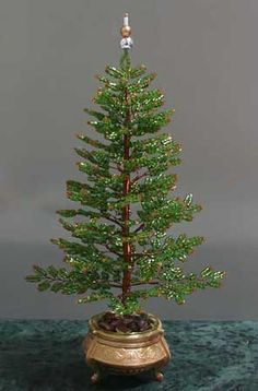 Beaded Tree Tutorial. Reminds me of something I would see in my Great-Grandmother's house at Christmas.