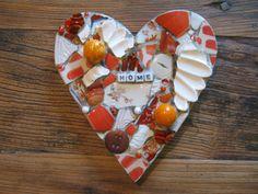 HOME, orange and white mosaic heart