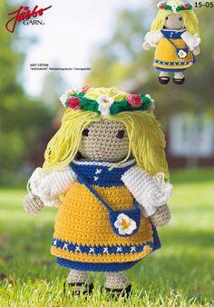 Amigurumi Swedish Girl in Sweden's National Costume! Free PDF Crochet Pattern and Tutorial