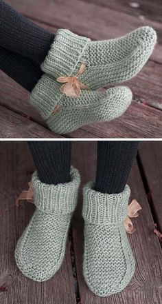 Knitted Socks Free Pattern, Baby Booties Knitting Pattern, Crochet Slipper Pattern, Knitted Booties, Easy Knitting Patterns, Knitted Slippers, Crochet Slippers, Knitting Socks, Free Knitting