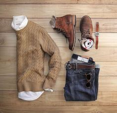 camel cable knit + denim + boots