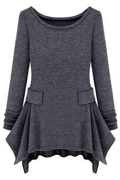 ROMWE   Knitted Slim Feeling Dark Grey Dress, The Latest Street Fashion