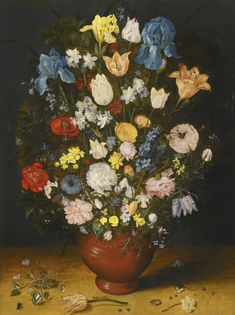 JAN BRUEGHEL THE ELDER BRUSSELS 1568 - 1625 ANTWERP STILL LIFE WITH IRISES, TULIPS, ROSES, NARCISSI AND FRITILLARY IN A CERAMIC VASE