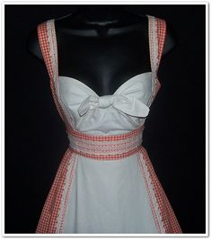 i looove the bodice line on this! Vintage 70s Gunne Sax Tie Front Red White by calicovintage on Etsy, $220.00