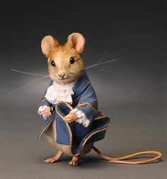 *FELT ART ~ R. John Wright Collectible Dolls. Lady Mouse 3 1/4 inches, LE/300  Molded felt - $450.00 prices subject to change