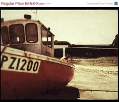 SPRING SALE A Penzance Fishing Boat  warm golden by matthewbull, $20.00