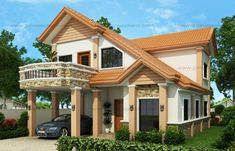 Modern house design is a 4 bedroom two story house which can be built in a 200 sq. lot having a minimum lot frontage of meters. This house is designed for a family of three but… Two Story House Design, Small House Design, Cool House Designs, Modern House Design, Small Cottage Designs, Two Storey House Plans, Fachada Colonial, House With Balcony, Two Story Homes