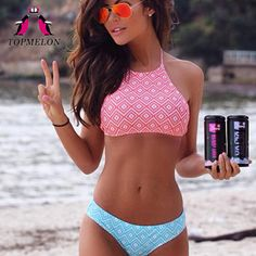 Topmelon Bikini 2017 Swimwear Women High Neck Push Up Halter Bikini Beachwear Bathing Suit Women Swimsuit Women Bikini Biquini
