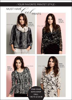 soyaconcept - blouse - shirt - scarf - allover print