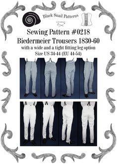 Biedermeier Hosen 1830 - 1860 mit weitem und engem Bein Schnittmuster #0218 Größe EU 44-64 PDF Download