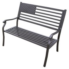 Indoor/outdoor iron bench with an American flag motif.   Product: BenchConstruction Material: IronCol...