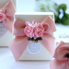 DIY  Party Paper Favor Box , Wedding Favor Candy Box , Candy Box with Ribbons…