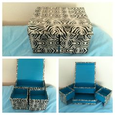 My DIY zebra with blue storage box made out of a cardboard box and duck tape.