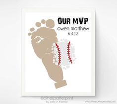 Sports Nursery Baseball Baby Footprint Art by PitterPatterPrint