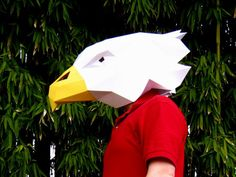 DIY Eagle Mask made from just paper. Great option for an inexpensive mascot costume! #Halloween #costume #Halloween_costume #mask #DIY_Halloween #DIY_Costume #DIY_Mask
