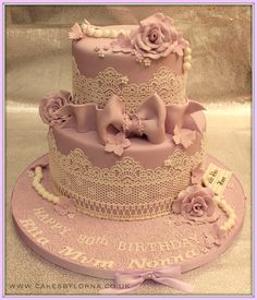 Ladies 80th Two Tier Vintage Inspired Lace Birthday Cake Lilac - Vintage style two tier birthday cake with edible lace, gumpaste roses & bow and fondant pearls. All edible.