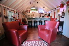 Classy Leather Lounge Chairs in the Pub Shed