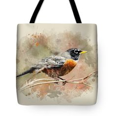 "American Robin - Watercolor Art Tote Bag by Christina Rollo (18"" x 18"").  The tote bag is machine washable, available in three different sizes, and includes a black strap for easy carrying on your shoulder.  All totes are available for worldwide shipping and include a money-back guarantee."