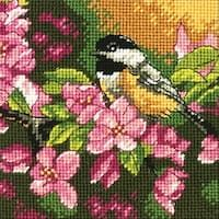 "Chickadee In Pink Mini Needlepoint Kit-5""X5"" Stitched In Thread"