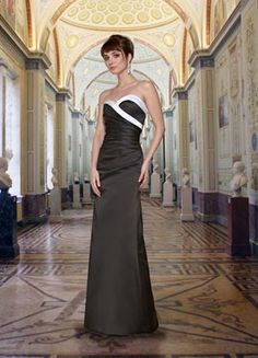 9279 Long / floor-length Strapless Ruched and fitted Satin Bridesmaids Dress with accent color trim, pictured here in a dark charcoal gray