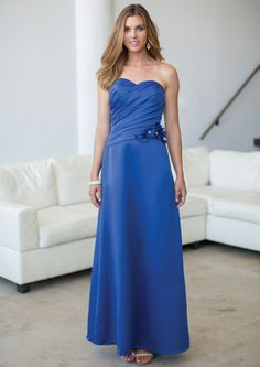 2015 Satin Ruched Blue Sweetheart Flowers Sleeveless Ankle Length Evening / Formal Dresses By Kenneth Winston 5179