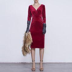 Vestido Tilda Terciopelo Rojo Rubi FW16