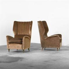 Exceptional Artwork By Gio Ponti, Pair Of Lounge Chairs From The Hotel Bristol, Merano,  Made Of Upholstery, Walnut Photo