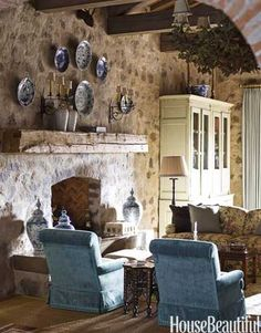 Romantic Family Room Stone walls and large ceiling beams add a romantic atmosphere to this vacation home. Designed by Cathy Kincaid French Country Living Room, French Country Style, Rustic French, Country Blue, French Decor, French Country Decorating, Living Room Designs, Living Room Decor, Living Rooms