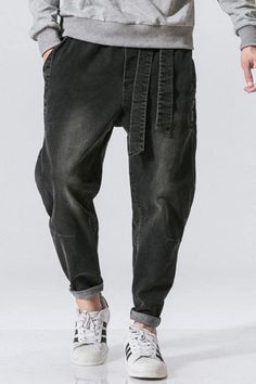 These denim harem pants take harem pants into new territory by combining two of today's most popular styles: Jeans and harem pants. Denim Harem Pant, Men's Fashion, Traditional Pant, Men's Bottom Outfit, Aesthetic Pant, Japanese Fashion, Tokyo Style, Asian Outfit, Men's Style Inspiration, Men's Street Style! #denimpant #harempant #tokyostyle #japanesepant #kokorostyle