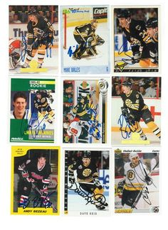 Boston Bruins Lot of 9 Autographed Cards. You will receive all cards in the picture. This Lot includes: Dave Reid, Grigori Panteleyev, Andy Bezeau, Fred Knipscheer, Mike Bales, David Shaw, Chris Winnes, Sergei Zholtok & Vladimir Ruzicka.
