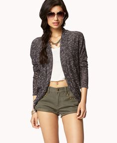 Open-Knit Marled Cardigan | FOREVER 21 - 2048592005