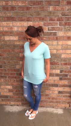Mint V Neck Piko – Anchored Hope Boutique