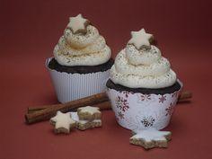 Meine Küchenschlacht: Schoko-Lebkuchen Cupcakes mit Zimtstern Füllung
