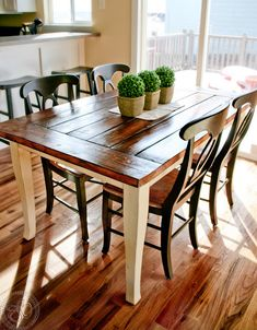 Farmhouse Table {refinishing table}   Doing this today with a round pedestool table and chairs!!!!