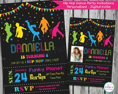 DANCE Party Invitation Invite Personalized by LollipopPartyDesigns