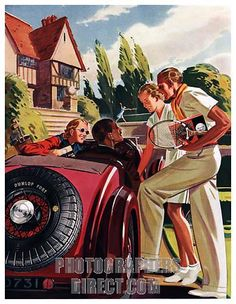 Dunlop Tennis- 1930s advert for tyres; English country house sporting theme.