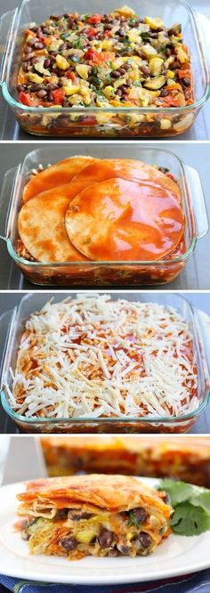 Stacked Roasted Vegetable Enchiladas.