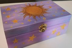 Wooden Box Crafts, Painted Wooden Boxes, Hand Painted, Crafts For Kids, Diy Crafts, Arts And Crafts, Wooden Memory Box, Diy Box, Scrapbook Supplies