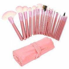 niceEshop 22pcs Professional Cosmetic Makeup Brush Set With Pink Bag