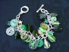 Green Buttons Chunky Charm Bracelet