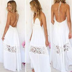 V-neck Backless Crochet Maxi Beach Dress - Meet Yours Fashion - 1