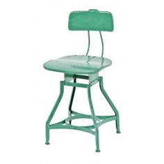 """late american industrial stationary green enameled """"uhl art steel"""" adjustable height factory office typist chair - toledo metal furniture co., toledo, oh. 1920s Furniture, Steel Furniture, Find Furniture, Industrial Stool, Vintage Industrial, Industrial Design, Vintage Stool, Spring Steel, Vintage Office"""