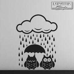 Wandtattoo 2 Eulen im Regen - WE58 von Lunatik-Style via dawanda.com