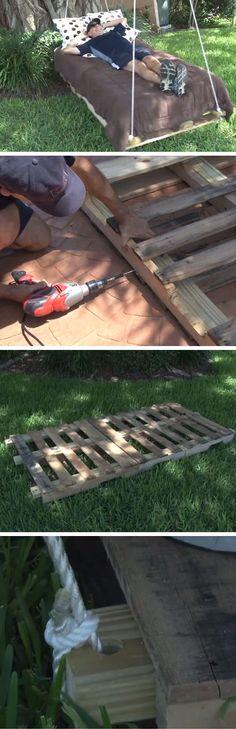 DIY Pallet Swing Bed | DIY Garden Projects Ideas Backyards | DIY Garden Decoartions Budget Backyard
