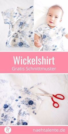 Free sewing pattern for a baby wrap shirt 3 - 9 months. Easy to sew, also suitable for beginners. ✂️ sewing talents - the magazine for hobby tailors with a pattern database ✂️ free sewing pattern baby kimono for 3 - 9 month ✂️ sewi Baby Clothes Patterns, Sewing Patterns For Kids, Sewing Projects For Kids, Sewing For Kids, Baby Sewing, Free Sewing, Baby Patterns, Pattern Sewing, Baby Kimono