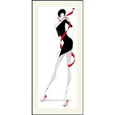Fashion Illustration, Fashion Design, Black and Red, Wall Decor,... (€23) ❤ liked on Polyvore featuring home, home decor and wall art