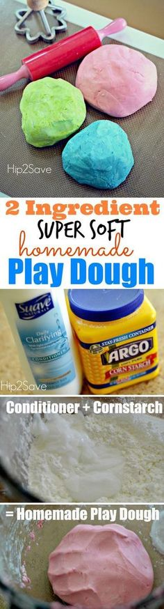 Hip2Save -- 2 ingredient play-doh. A great kid's activity that you can do with them indoors our outdoors!